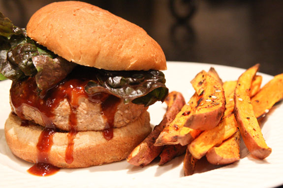 Turkey Burger and Sweet Potato Fries