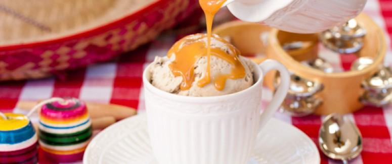 Coffee Ice Cream with Chocolate Chunks and Homemade Dulche de Leche ...