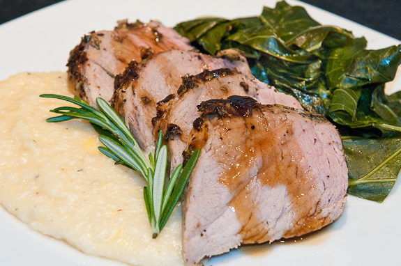 Rosemary Pork Tenderloin with a Bourbon Glaze and Old Amsterdam Cheese Grits