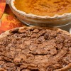 Pecan Pie with Pumpkin background