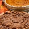 Pecan Pie with Pumpkin background