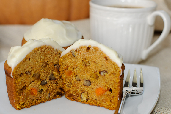 Pumpkin Muffins with Cream Cheese Frosting made from a Fairytale Pumpkin