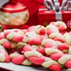 Candy cane cookies with ornaments