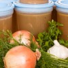Chicken stock in containers