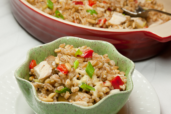 Baked Farro with Eggplant, Wild Mushrooms and Jalapeno Cheddar