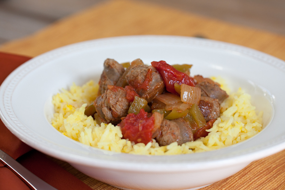 Sausage, Peppers and Onions with Saffron Rice