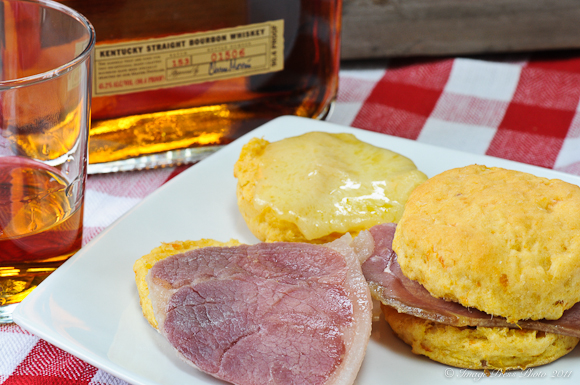 Sweet potato biscuits, country ham, Farmstead cheddar cheese and bourbon
