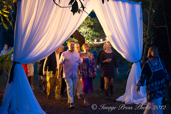Guests entering the tent for dinner