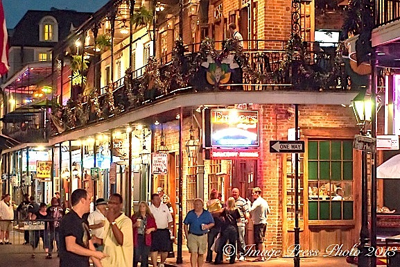 Early evening on Bourbon Street as it gears up for the crowds