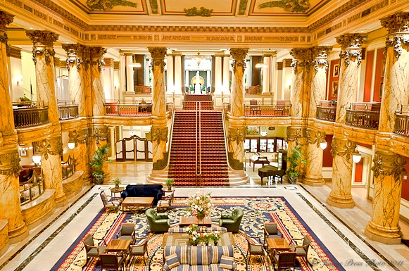 The stunning two-story lobby at The Jefferson Hotel