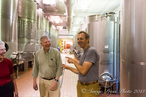 Luca giving a tour to friends at the winery