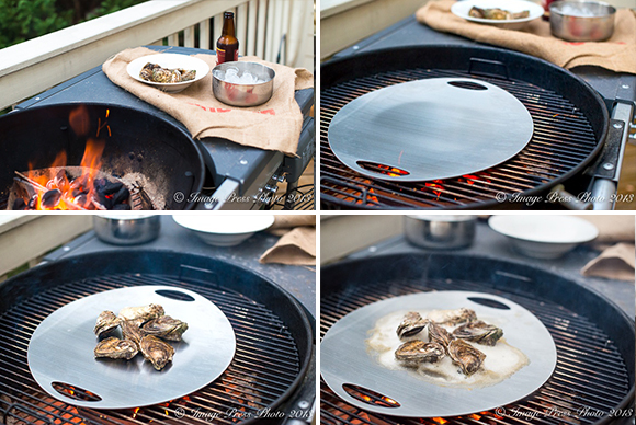 We prepared our own Oyster Roast at home with a stainless steel plate