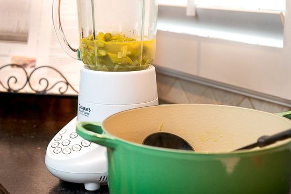 Transfer the mixture in batches to the blender