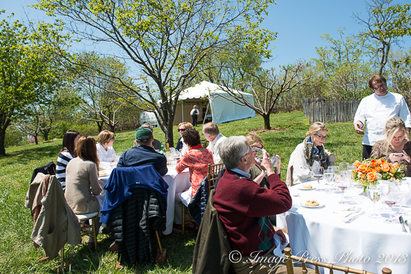 Lunch in Jefferson's orchard at Monticello with Chef Dean Maupin of C&O and Gabriele Rausse of Monticello