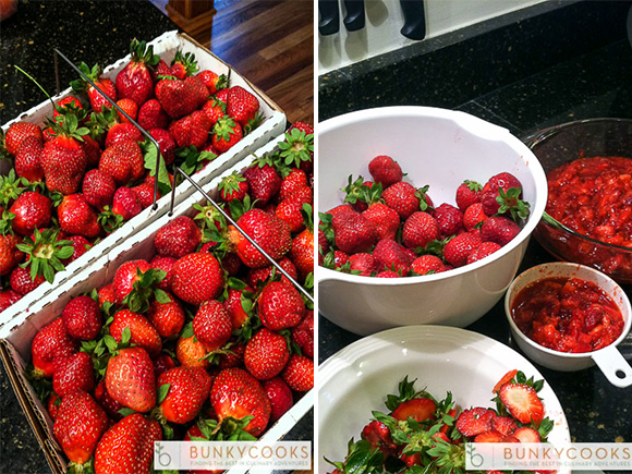 Instagram photos of strawberries from the Farmers' Market in North Georgia and jam in the making