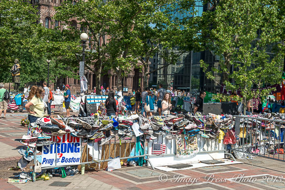 The Boston Marathon Bombing Memorial in Copley Square
