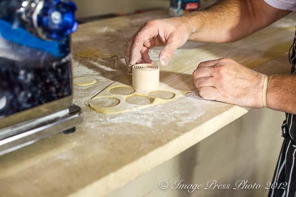 Making Corzetta for the evening's Crab Minestrone