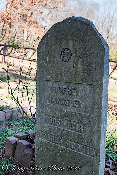 Godfrey Barnsley's remains are buried on the property