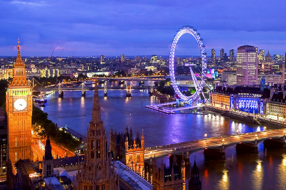 A view of London and the Thames River at night