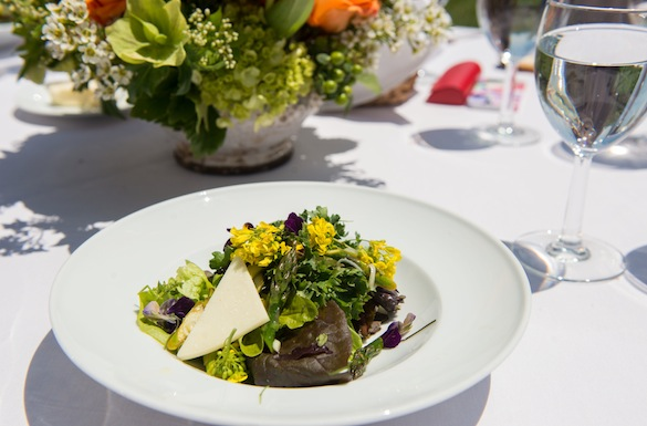 Our salad was harvested from Jefferson's historic heirloom gardens