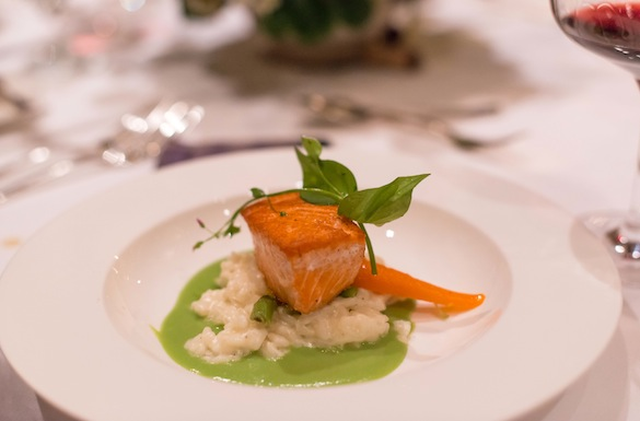 Blackmouth Wild Chinook Salmon with Green Garlic, Baby Carrots, Wild Miner's Lettuce, Parmesan Risotto, and English Pea Coulis
