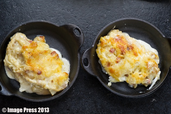 Serve the portions in individual cast iron pans