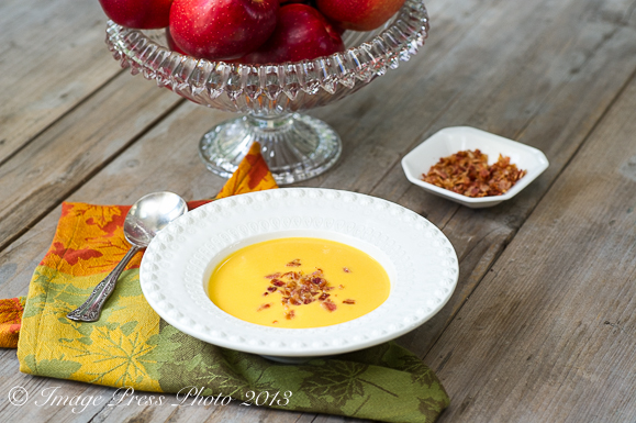 This soup combines the best of fall with sweet potatoes, butternut squash, and SweeTango apples