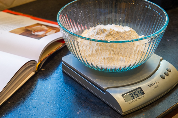 Weigh in grams with a digital scale