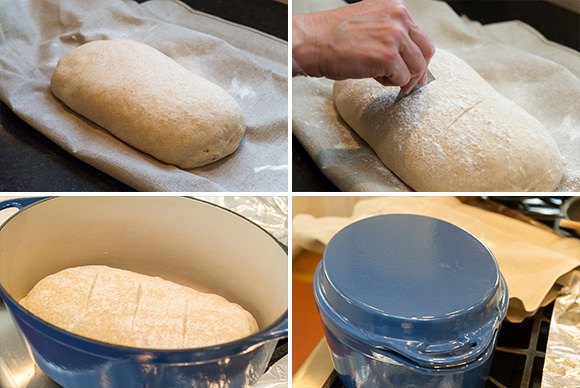Cut the top with a lame or rzor and place in a pre-heated Le Creseut Dutch oven