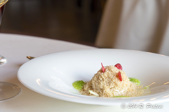 Crab, grated goose fois gras, and green apple
