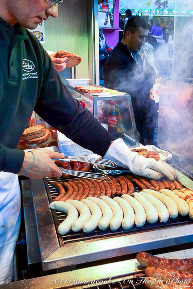 Cooking brats and sausages at the Fall Festival