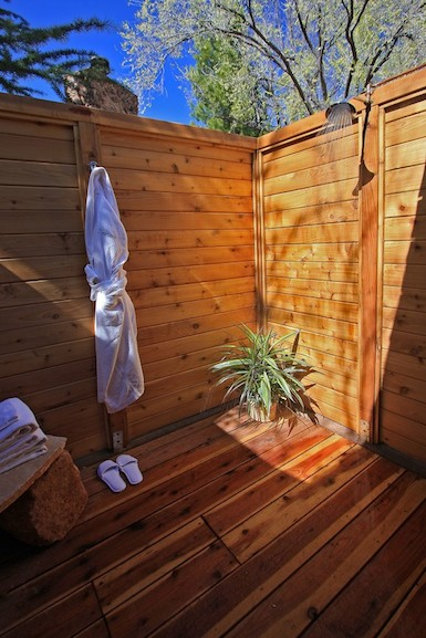 Some of the cottages feature outdoor showers