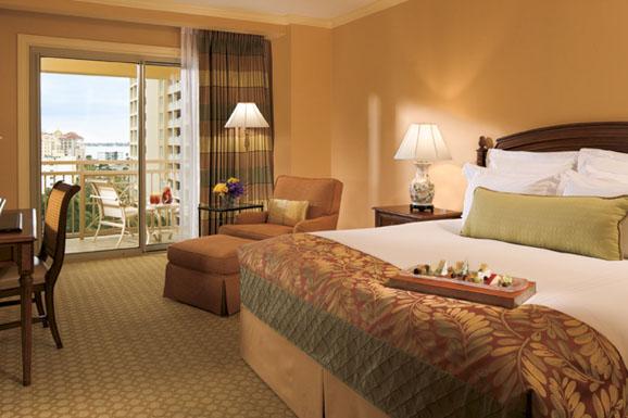 Guest rooms with balconies overlooking Sarasota Bay