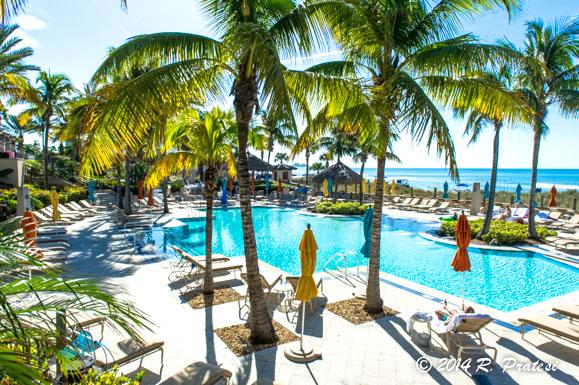 The pool area has a tropical feel at The Beach Club