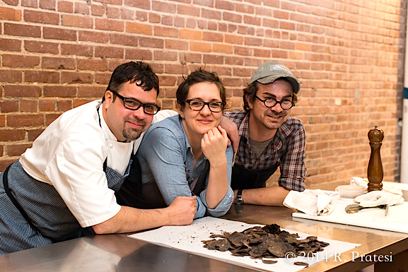 Chefs Anthony Lamas (Seviche), Chef Lisa Donovan (Husk), and Scott Witherow (Olive & Sinclair Chocolate)