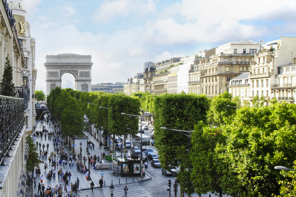 * View of the Avenue des Champs- Elysées and Arc de Triomphe from the hotel