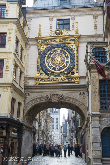 The famous clock tower in the medieval section of Rouen