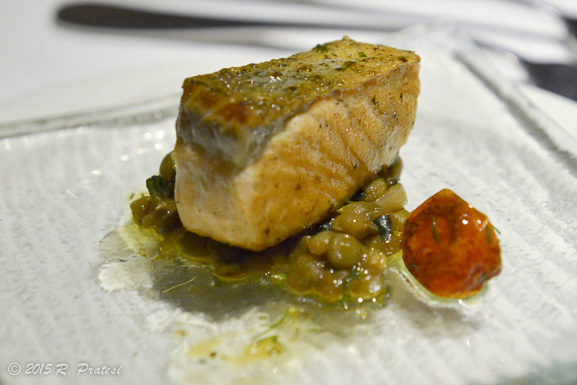 Amuse Bouche - Seared Atlantic Salmon with Warm Du Puy Lentil and Sun Blushed Tomato