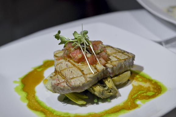 Lemon, Garlic & Parsley Grilled Yellow Fin Tuna with Artichoke, Potato, Leeks & Tomato Caper Dressing