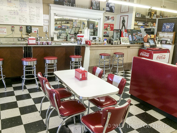 The soda counter at Lovelace Drug Store