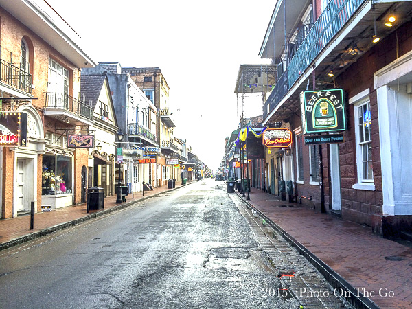 A rare early morning quiet moment on Bourbon Street