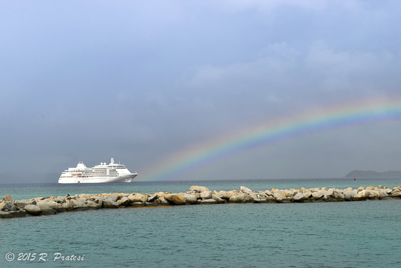 A rainbow over the Silver Whisper