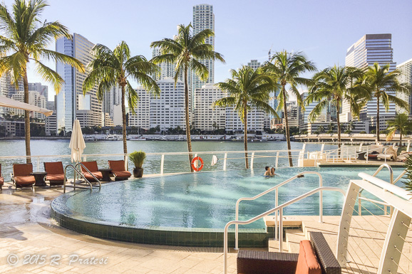Looking back at Miami and the bay from the pool