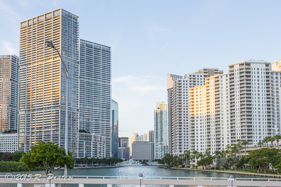 View of the Miami River and Brickell Key from the bridge