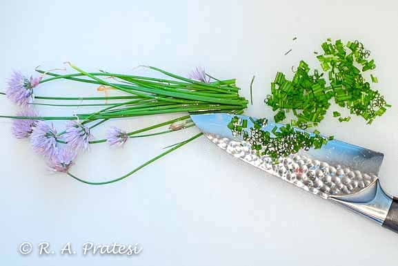 Fresh minced chives from our garden
