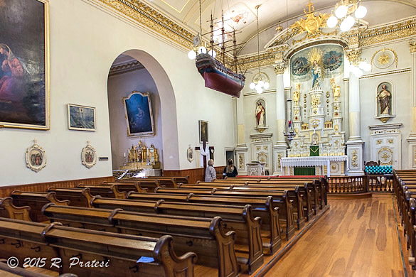 Inside the small Roman Catholic church