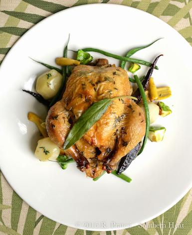* Herb-roasted Poussin from Hickory Run Farm with spring vegetables