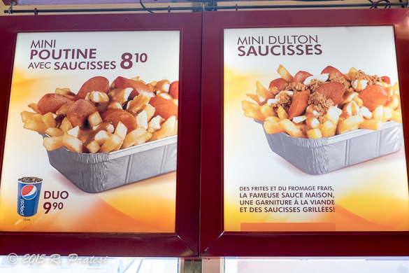 Menu choices of Poutine at Chez AshTon