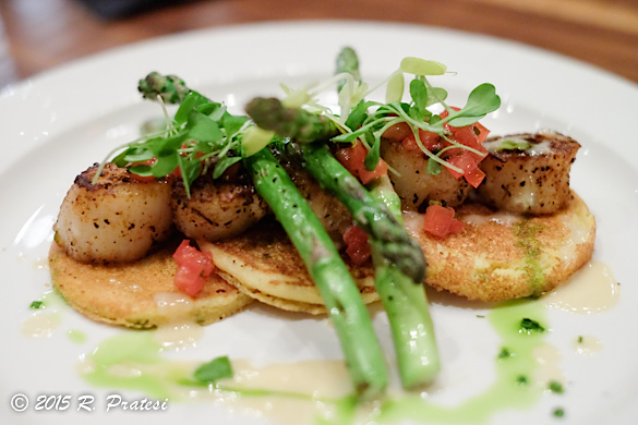Pan Seared Scallops, Hot-Griddled Johnny Cakes, warm crab & artichoke salad, w/asparagus & beurre blanc