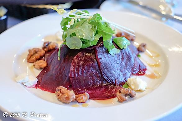Roast beet salad, goat curd, candied walnuts, truffled honey